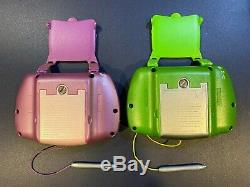 2 LeapFrog Leapster Learning Systems with8 game Dora Disney Fairies Cars & 2 cases