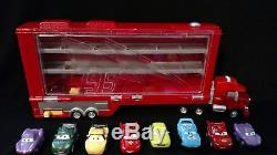 34 Disney Pixar Cars Micro Drifters Cars, Planes Lot and Mack Transporter case