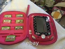 BARBIE Leap Frog LeapPad 2 game system Pink Case With7 games! Disney&Car Charger