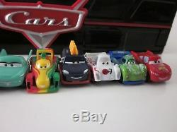 Disney Cars Pixar Lot of 10 MICRO DRIFTER CARS with Fast Flip Carry Case