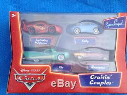 Disney Cars Race Track & Case & Cruisin Couples 4 pk & Shopkeepers 4pk NEW LOT