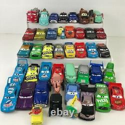 Disney Pixar CARS Diecast 44 pc LOT with Oval Race Track Carry Case Almst Complete