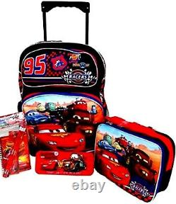 Disney Pixar Cars 16 Rolling Backpack, Lunchbox, Pencil Case, &stationary-new