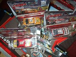 Disney Pixar Cars 2 Fan Stands LOADED WITH PISTON CUP RACERS Display Case