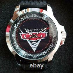 Disney Pixar Cars 2 Wristwatch Rubber Band Analog With Can Case & Box Unused
