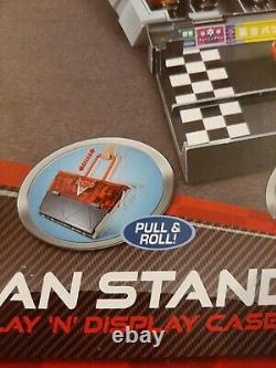 Disney Pixar Cars 2 fan stands play N display case pull roll open Play new