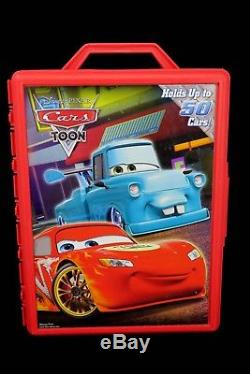 Disney Pixar Cars Lot & Tow Mater Toons Carrying Storage Case Holds 50 Vehicles