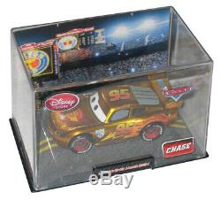 Disney Store Cars 2 Gold Lightning McQueen Chase Toy Car with Plastic Case