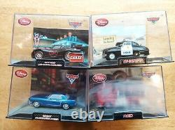 Disney Store Cars Lot Of 4 In Collectors Cases Diecast Hot Rod Lightning Mcqueen