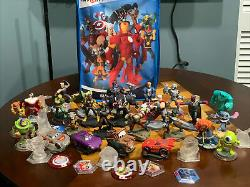 Huge LOT 40+ Disney Infinity Bundle With Marvel Avengers Toy Story Cars With Case