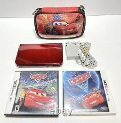 NEW Nintendo 3DS XL RED-001 Handheld Console + Disney Cars Games, Charger & Case