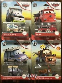 New Disney Pixar Cars Deluxe 2021 4Piece Case Red, Dr. Damage, Leroy, Mater