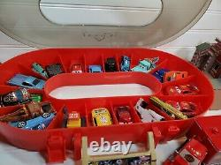 Vtg Disney Pixar CARS Diecast LOT w Oval Race Track Carry Case and extras